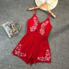 Embroidered Spaghetti-strap Playsuit