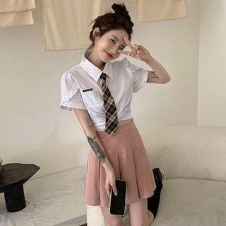 Short-sleeve Shirt / A-line Skirt / Neck Tie