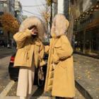 Hooded Padded Zip Coat / Long Coat