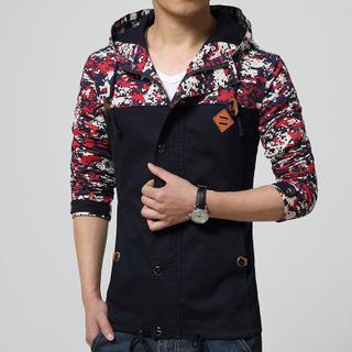Hooded Panel Zip Jacket