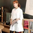 Long-sleeve Pleated Shirt Dress