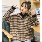 Mock Two-piece Mock Neck Plaid Shirt