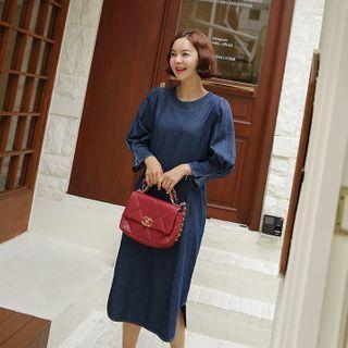 Pintuck-sleeve Denim Shift Dress Blue - One Size