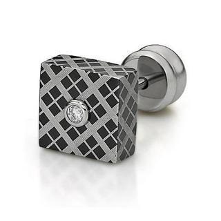 Square Diamond Single Earring Ip Black - One Size