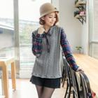 Plaid-panel Cable Hooded Top