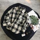 3/4-sleeve Plaid Casual Shirt