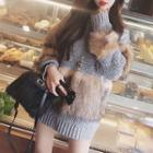 Chunky Knit Furry Panel Sweater