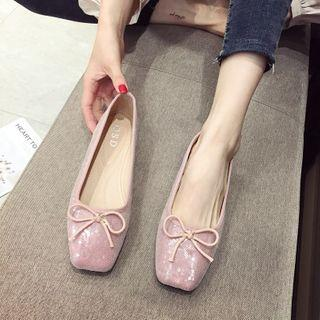 Square-toe Sequined Bow Flats
