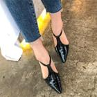Pointy-toe T-strap Patent Flats