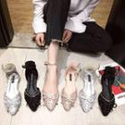 Ankle-strap Embellished Pointed Toe Flats