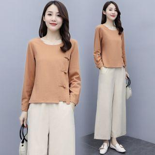 Set: Long-sleeve Frog-button T-shirt + Cropped Wide-leg Pants