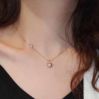 Copper Sun Pendant Necklace Sun Flower - Gold - One Size