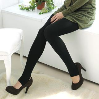 Brushed Fleece Lined Stirrup Tights Black - One Size
