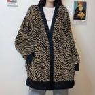 Leopard Pattern Buttoned Cardigan