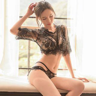 Set: Sheer Lace Short-sleeve Top + Panties