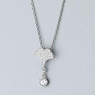 925 Sterling Silver Rhinestone Leaf Pendant Necklace S925 Silver - Necklace - One Size