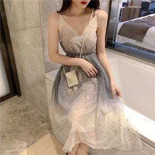 Sleeveless Star-sequined Mesh Dress