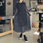 Dotted Pleated Long Dress With Sash