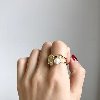 Faux Pearl Open Ring K638 - Gold - One Size