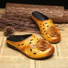 Genuine Leather Flower Slippers