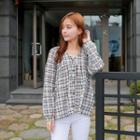 V-neck Plaid Shirred Blouse