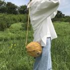 Round Emboidered Canvas Crossbody Bag