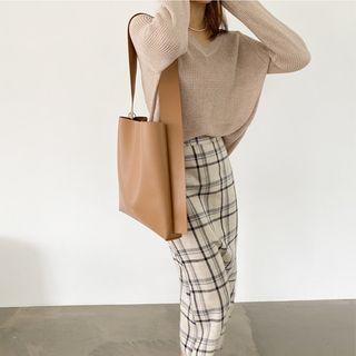 Plaid Linen Blend Skirt Beige - One Size