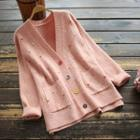 Contrast Button Dotted Knit Cardigan