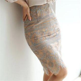 Tall Size Lace Overlay Pencil Skirt