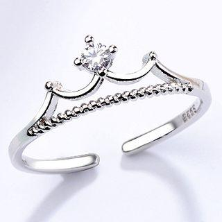 Crown Open Ring White Gold - One Size