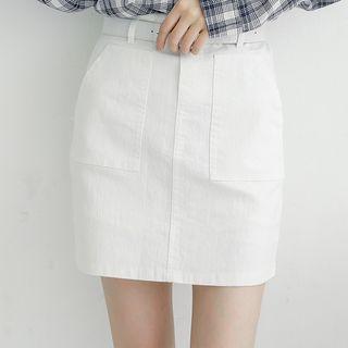 Mini Denim Skirt With Belt