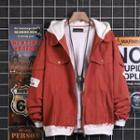 Paneled Lettering Zip Jacket