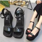 Patent Platform Wedge Sandals
