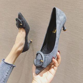 Buckled Velvet Pointed Kitten-heel Pumps