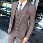 Suit Set: Check Blazer + Vest + Dress Pants