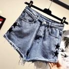 Star Embroidered Frayed Denim Shorts