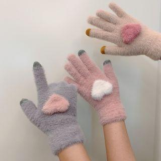 Chenille Heart Touchscreen Gloves