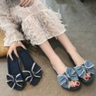 Bow-accent Denim Slippers