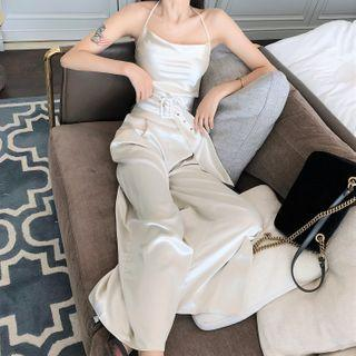 Halter-neck Silky Wide Leg Jumpsuit