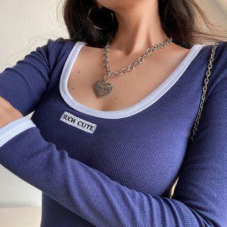 Color-block Long-sleeve Slim-fit Mini Dress