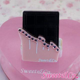 Sweet Pink Swarovski Crystal Choco Bar Ring Silver - One Size