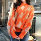 Houndstooth Thick Sweater Tangerine - One Size