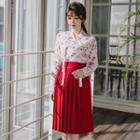 Set: Hanbok Top (floral / Wine Red) + Skirt (midi / Red)