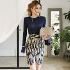 Set: Knit Pullover + Patterned Fitted Skirt