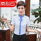 Pinstripe Stand-collar Short-sleeve Blouse