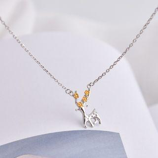 Deer Necklace Silver & Yellow - One Size