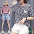 Plaid Cat Embroidered Short-sleeve T-shirt