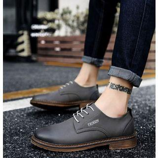 Genuine-leather Stitched Lettering Oxfords