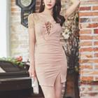 Lace Up Lace Panel Short-sleeve Mini Sheath Dress