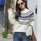 High-neck Patterned Sweater